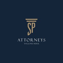 SP Initial Monogram Logo For Law Office, Lawyer, Advocate With Pillar Style