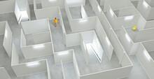 Man Lost In White Illuminated Maze