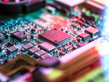Inside Of Computer Hardware Showing Chips And Circuit Board