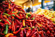 Red Chili Pepper With Vegetables In Market