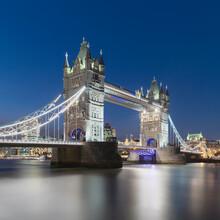UK, England, London, Long Exposure Of River Thames And Tower Bridge At Dusk