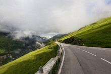 Austria, Carinthia, White Fluffy Clouds Covering Alps Seen From Grossglockner High Alpine Road