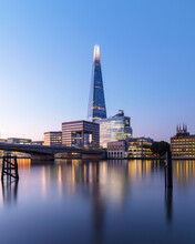 UK, England, London, Long Exposure Of River Thames At Dawn With London Bridge And The Shard In Background