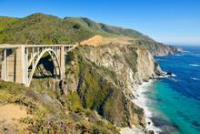 USA, California, Monterey, Bixby Creek Bridge On Cabrillo Highway