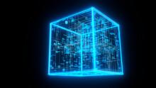 Three Dimensional Render Of Blue Glowing Blockchain Cube
