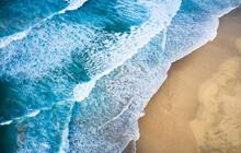 Spain, Canary Islands, Fuerteventura, Aerial View Of Waves Stroking Sandy Beach Playa De Cofete