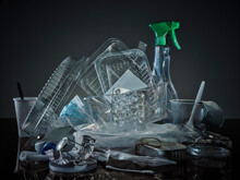 Studio Shot Of Small Heap Of Plastic And Aluminum Garbage