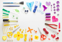 Colorful Arrangement Of Various Tools And Sewing Items