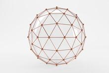 Three Dimensional Render Of Brown Connected Spheres