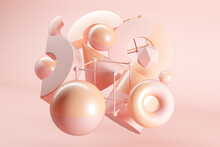 3D Illustration Of Floating Geometric Shapes