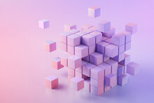 3D Illustration Of Pink Cubes