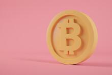 Three Dimensional Render Of Single Bitcoin