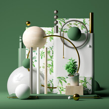Three Dimensional Render Of Pedestal With Potted Plant, Various Spheres, Tubes And Decorative Wallpapers With Green Leaves
