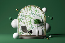 Three Dimensional Render Of Potted Plant, Empty Chair And Decorative Arch On Pedestal With Various Spheres Floating Behind Against Green Background