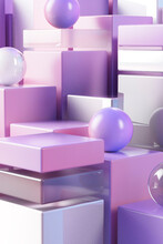 3D Illustration Of Pink And Purple Cubes And Spheres