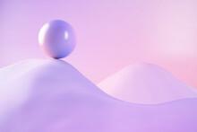3D Illustration Of Sphere On Mountain