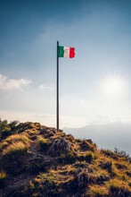 Italy, Lombardy, Italian Flag On Top Of Monte Legnoncino