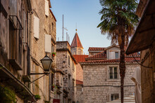 Croatia, Split-Dalmatia County, Trogir, Old Town Houses With Bell Tower Of Church Of Saint Nicholas In Background