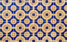 Full Frame Of Blue And Yellow Colored Mosaic Wall With Square Tiles