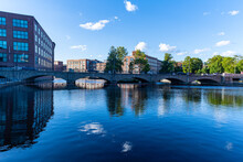 Finland, Pirkanmaa, Tampere, City Arch Bridge Stretching Over Tammerkoski River