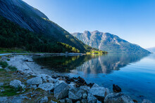 Rocky Shore Of Eid Fjord