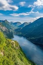 Norway, More Og Romsdal, Scenic View Of Geiranger Fjord