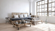 Three Dimensional Render Of Living Room With Furniture Made Of Wooden Pallets