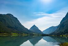 Norway, Byrkjelo, Mountains Reflecting In Bergheimsvatnet Lake