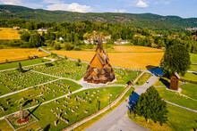 Norway, Notodden, Heddal, Aerial View Of Heddal Stave Church And Surrounding Cemetery