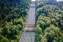 Norway, Telemark, Rjukan, Aerial View Of Water Pipelines Of Unesco World Heritage Industrial Site Rjukan Notodden