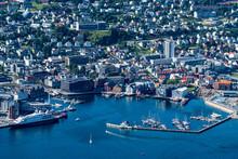 Norway, Troms Og Finnmark, Tromso, Harbor Of Coastal City Seen From Fjellstua Viewpoint