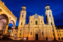 Theatine Church And Feldherrnhalle Bavarian Army Monument At Odeon Square, Munich, Germany