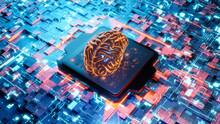 Three Dimensional Render Of Human Brain On Glowing Circuit Board