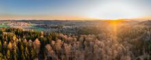 Beautiful Sunrise Over Swabian Forest, Baden-Wuerttemberg, Germany