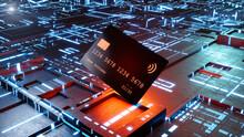 Three Dimensional Render Of Credit Card Against Glowing Circuit Board