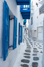 Greece, South Aegean, Horta, Empty Narrow Alley Stretching Between White-washed Houses