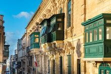 Malta, South Eastern Region, Valletta, Balconies Of Historical Old Town Houses