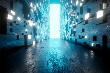 3D Illustration Of Architecture Visualisation Of Alien Science Fiction Building Interior With Open Gate