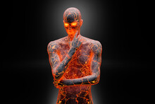 Three Dimensional Render Of Glowing Concrete Man Contemplating With Hand On Chin