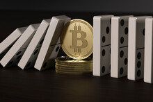 CGI Concept Of Decentralized Finance Bitcoin Stopping Aligned Domino Blocks From Falling