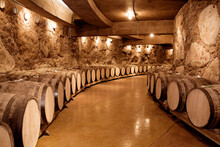 Wine Barrels On Old Cellar. Warm And Desaturated Tones
