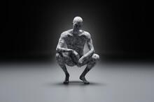 Three Dimensional Render Of Concrete Man Crouching Against Dark Background