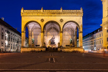 Feldherrnhalle Bavarian Army Monument At Odeon Square At Night, Munich, Germany