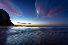 New Zealand, South Island, Ocean At Sunset