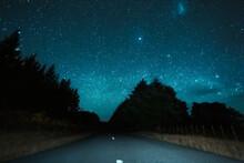 New Zealand, North Island, Rotorua, Empty Road At Starry Night