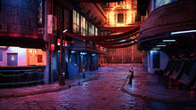 3D Rendering Of A Cyberpunk City Street At Night.