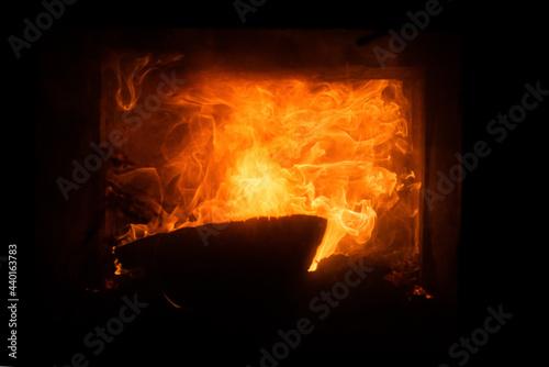 Canvastavla Burning fireplace