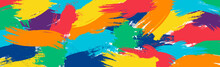 Realistic Rainbow Colored Paint Strokes On Panoramic Background - Vector