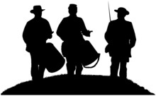 American Civil War Drummer Boys And Soldier In Black Silhouette On White Background
