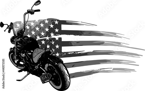 Fotografiet chopper motorcycle with american flag vector illustration